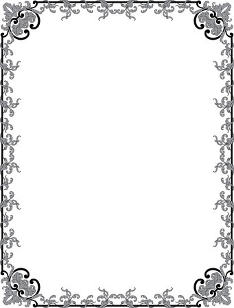 Oriental flourish border frame, monochrome Vector