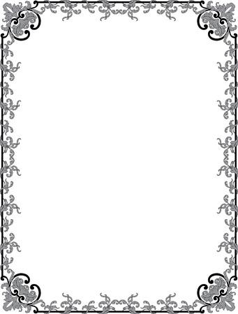 a2: Oriental flourish border frame, monochrome