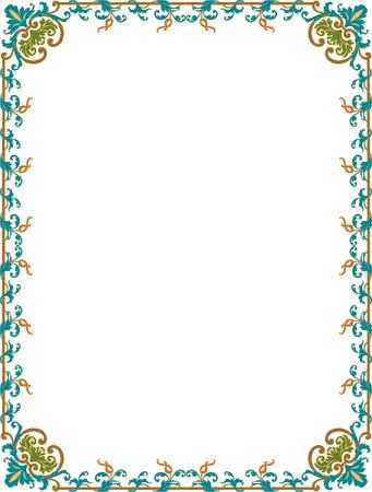 a2: Oriental flourish border frame, colored