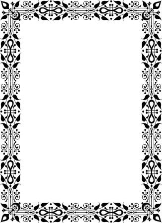 a4 borders: Marco de la foto del ornamento Oriental, monocromo