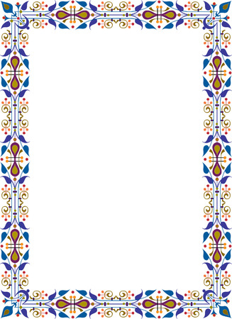 a4 borders: Photo frame ornamento orientale, colorata Vettoriali