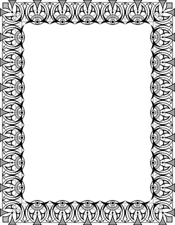 Oriental ornament photo frame, monochrome Vector