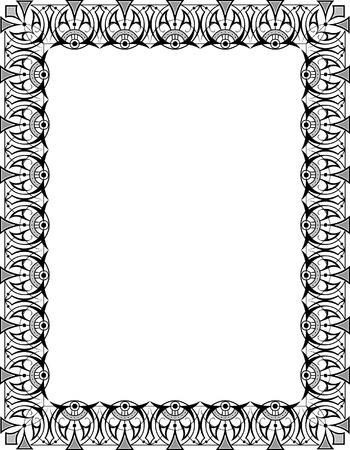 Oriental ornament photo frame, monochrome Stock Vector - 23314189