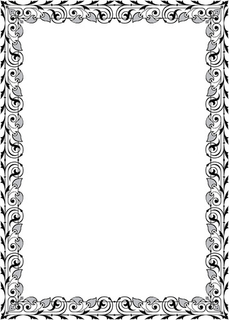 Quite lite border design, in vector lines, monochrome Vector