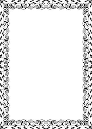 a4 borders: Quite lite border design, in vector lines, monochrome Illustration