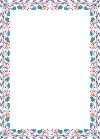 a4 borders: Piuttosto lite disegno confine, in linee vettoriali, colorato