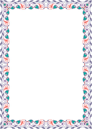 Quite lite border design, in vector lines, colored