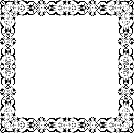 Square garnished photo frame, monochrome Vector