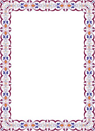 a4 borders: Marco de la foto adornado vertical, de color Vectores