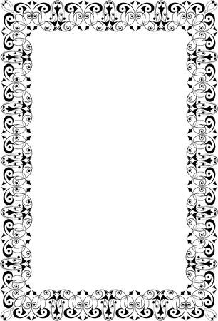 a4 borders: Oriental ornament photo frame, monochrome