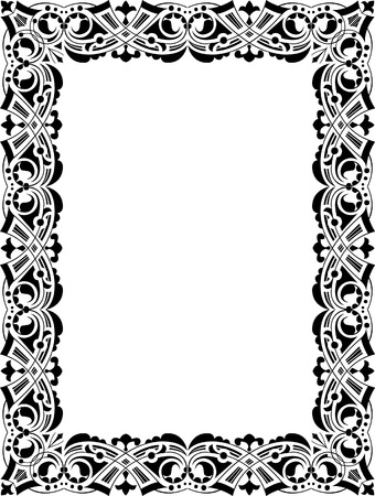 Hand drawing design, thick frame, monochrome Vector
