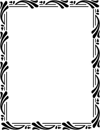 a4 borders: Marco adornado hermoso, monocromo Vectores