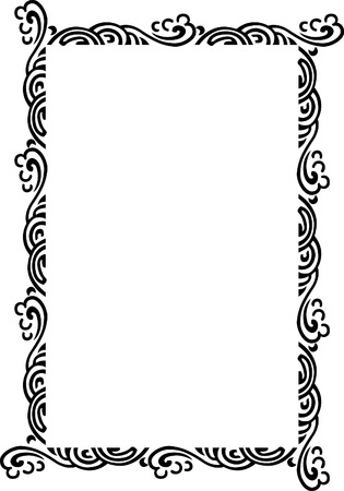 Beautiful ornate frame, wind style, monochrome Illustration