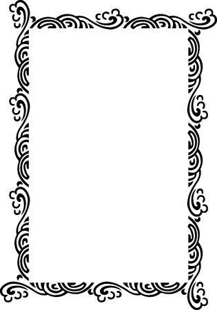 a4 borders: Bella cornice ornato, stile vento, bianco e nero