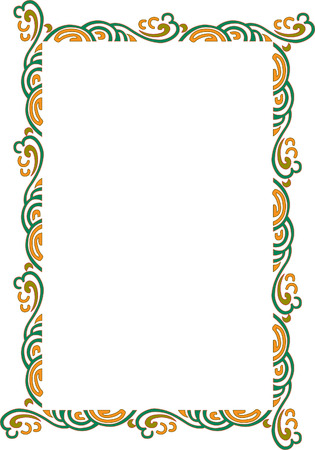 a4 borders: Beautiful ornate frame, wind style, colored