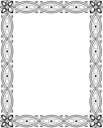 a4 borders: Marco de la foto adornado Vertical, monocromo