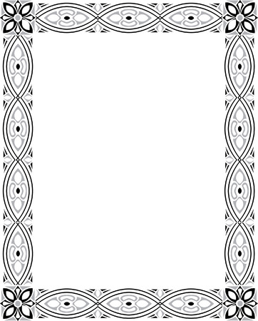 Vertical garnished photo frame, monochrome Vector