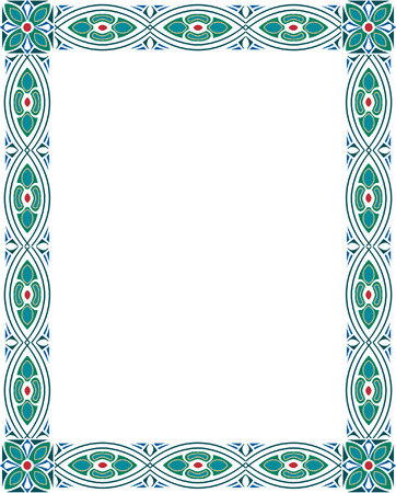 Vertical garnished photo frame, colored Vector