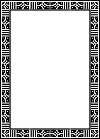 Beautiful basic design, border frame in vector lines, monochrome