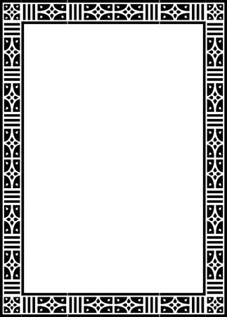 a4 borders: Hermoso dise�o b�sico, marco de la frontera en l�neas vectoriales, monocromo