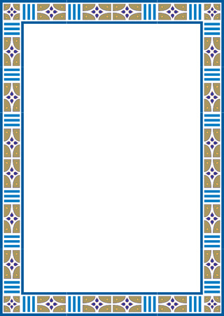 Beautiful basic design, border frame in vector lines, colored
