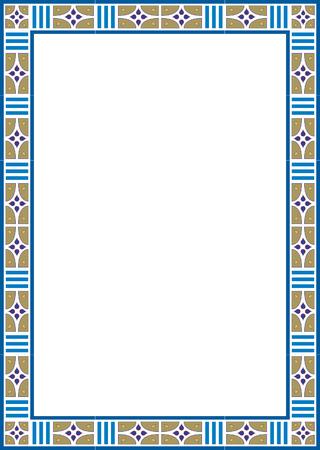 grens: Mooi basic design, grens frame in vector lijnen, gekleurd Stock Illustratie