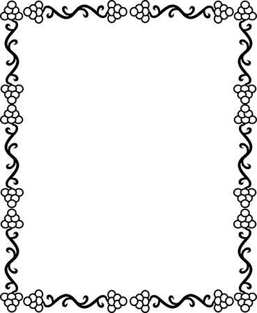 Grape design border, monochrome Vector