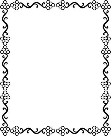wood creeper: Grape design border, monochrome Illustration