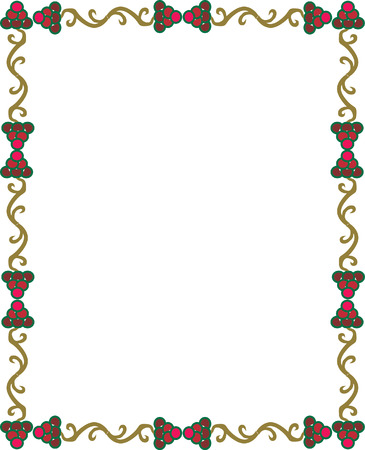 Grape design border, colored Vector