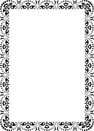 a4 borders: cornice floreale di confine ornamento, monocromatico