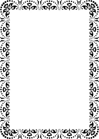 floral ornament border frame, monochrome Vector