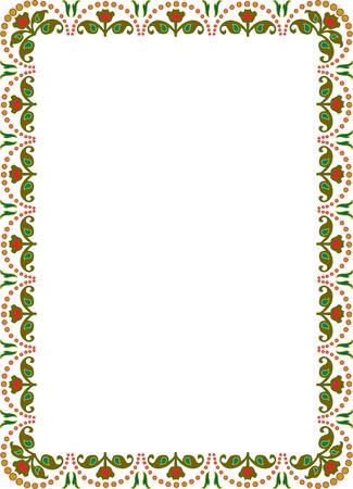 a4 borders: floral frontera marco ornamento, color