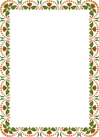 floral ornament border frame, colored