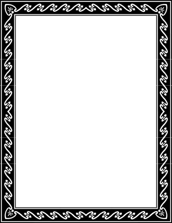 Basic lines ornate border, monochrome Vector