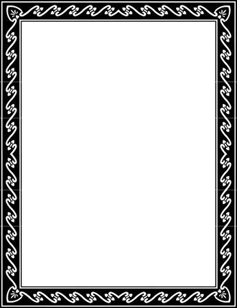 a4 borders: L�neas Basic frontera adornada, monocromo