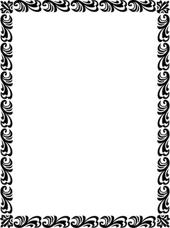 a4 borders: Bello disegno di base, bordo cornice in linee vettoriali, monocromatico