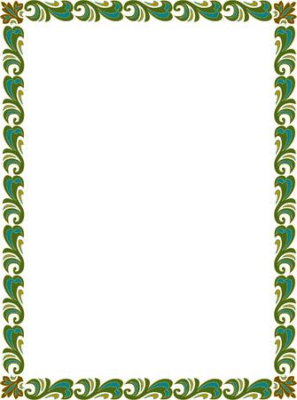 a4 borders: Bello disegno di base, bordo cornice in linee vettoriali, colorato
