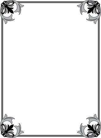 Classical ornate border, monochrome Stok Fotoğraf - 23314462