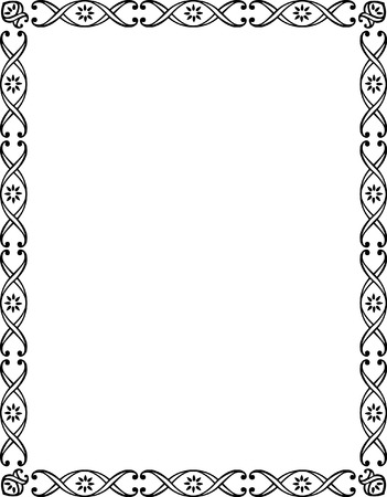 borders abstract: Beautiful basic border frame, monochrome Illustration