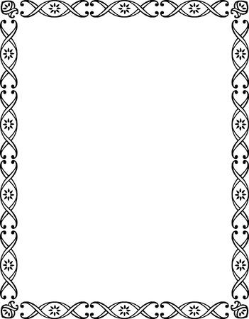 a4 borders: Bella cornice di frontiera di base, monocromatico
