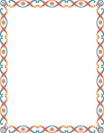 grens: Mooi basic grens frame, gekleurd Stock Illustratie