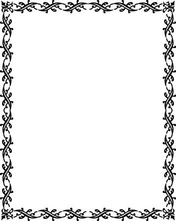 wood creeper: Beautiful basic border frame, monochrome Illustration