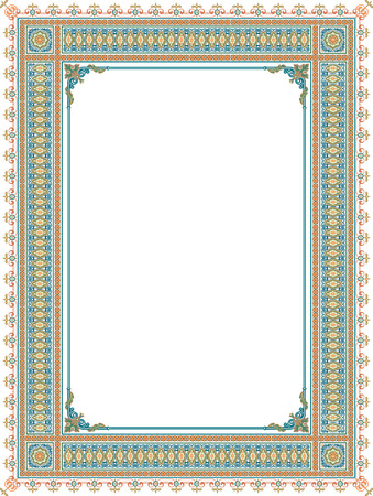 thick: Tiled arabesque vector frame, thick, Colored