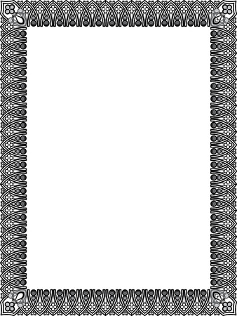 grayscale: Tiled ornate vector frame, Grayscale