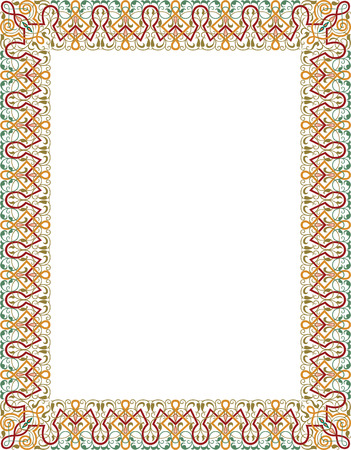swirl border: Garnished thick vector frame, Colored