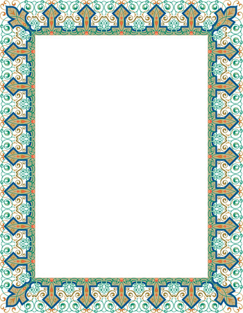 Garnished thick vector frame, Colored