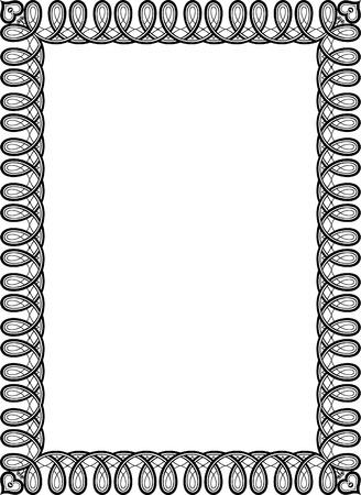 thick: Tiled ornate vector frame, Black and White