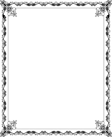 garnished: Garnished vector frame, Grayscale Illustration