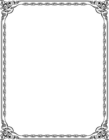 thick: Tiled ornate vector frame with corners, Grayscale