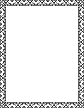 garnished: Garnished vector frame, Grayscale Illustration
